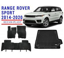 All Weather Floor Mats Trunk Liner Set For RANGE ROVER SPORT 2014-2020 Black