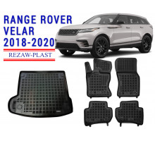 All Weather Floor Mats Trunk Liner Set For RANGE ROVER VELAR 2018-2020 Black