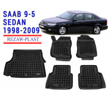 All Weather Floor Mats Trunk Liner Set For SAAB 9-5 SEDAN 1998-2009 Black