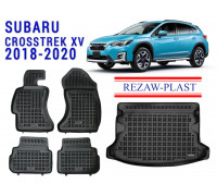 All Weather Floor Mats Trunk Liner Set For SUBARU CROSSTREK XV 2018-2020 Black