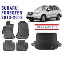 All Weather Floor Mats Trunk Liner Set For SUBARU FORESTER 2013-2018 Black