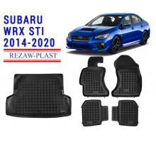All Weather Floor Mats Trunk Liner Set For SUBARU WRX STI 2014-2020 Black