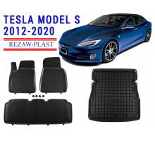 All Weather Floor Mats Trunk Liner Set For TESLA MODEL S 2012-2020 Black