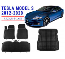 Rezaw-Plast Floor Mats Trunk Liner Set for Tesla Model S 2012-2020 Black