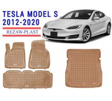 Rezaw-Plast Floor Mats Trunk Liner Set for Tesla Model S 2012-2020 Beige