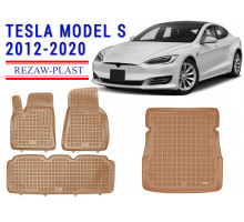 All Weather Floor Mats Trunk Liner Set For TESLA MODEL S 2012-2020 Beige
