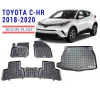All Weather Floor Mats Trunk Liner Set For TOYOTA C-HR 2018-2020 Black