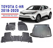 Rezaw-Plast Floor Mats Trunk Liner Set for Toyota C-HR 2018-2020 Black