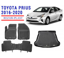 All Weather Floor Mats Trunk Liner Set For TOYOTA PRIUS 2016-2020 Black