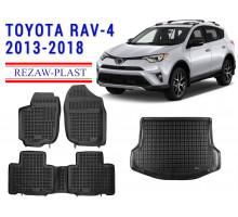 Rezaw-Plast Floor Mats Trunk Liner Set for Toyota RAV-4 2013-2018 Black