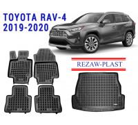 All Weather Floor Mats Trunk Liner Set For TOYOTA RAV-4 2019-2020 Black