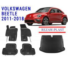 Rezaw-Plast Floor Mats Trunk Liner Set for Volkswagen Beetle 2011-2018 Black