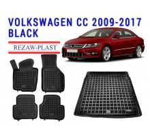 Rezaw-Plast Floor Mats Trunk Liner Set for Volkswagen CC 2009-2017 Black