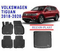 All Weather Floor Mats Trunk Liner Set For VOLKSWAGEN TIGUAN 2018-2020 Black