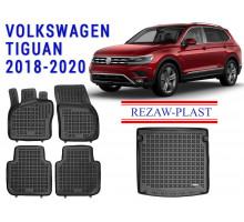 Rezaw-Plast Floor Mats Trunk Liner Set for Volkswagen Tiguan 2018-2020 Black