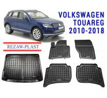 Rezaw-Plast Floor Mats Trunk Liner Set for Volkswagen Touareg 2010-2018 Black