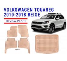 Rezaw-Plast Floor Mats Trunk Liner Set for Volkswagen Touareg 2010-2018 Beige