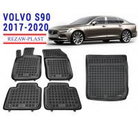 All Weather Floor Mats Trunk Liner Set For VOLVO S90 2017-2020 Black