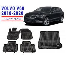 All Weather Floor Mats Trunk Liner Set For VOLVO V60 2018-2020 Black
