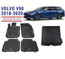 All Weather Floor Mats Trunk Liner Set For VOLVO V90 2018-2020 Black
