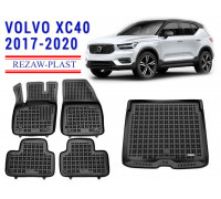 All Weather Floor Mats Trunk Liner Set For VOLVO XC40 2017-2020 Black