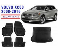 All Weather Floor Mats Trunk Liner Set For VOLVO XC60 2008-2016 Black