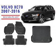 All Weather Floor Mats Trunk Liner Set For VOLVO XC70 2007-2016 Black