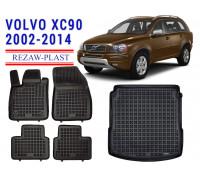 All Weather Floor Mats Trunk Liner Set For VOLVO XC90 2002-2014 Black