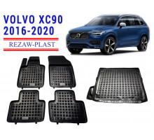 All Weather Floor Mats Trunk Liner Set For VOLVO XC90 2016-2020 Black
