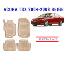 All Weather Rubber Floor Mats Set For ACURA TSX 2004-2008 Beige