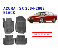 All Weather Rubber Floor Mats Set For ACURA TSX 2004-2008 Black