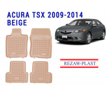 All Weather Rubber Floor Mats Set For ACURA TSX 2009-2014 Beige