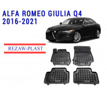 All Weather Rubber Floor Mats Set For ALFA ROMEO GIULIA Q4 2016-2021 Black