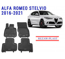 All Weather Rubber Floor Mats Set For ALFA ROMEO STELVIO 2016-2021 Black