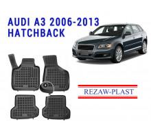 All Weather Rubber Floor Mats Set For AUDI A3 2006-2013 HATCHBACK Black
