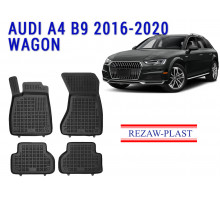 All Weather Rubber Floor Mats Set For AUDI A4 B9 2016-2020 WAGON Black