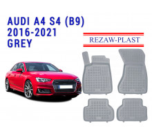 All Weather Rubber Floor Mats Set For AUDI A4 S4 (B9) 2016-2021 Gray