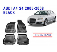 All Weather Rubber Floor Mats Set For AUDI A4 S4 2005-2008 Black