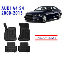 All Weather Rubber Floor Mats Set For AUDI A4 S4 2009-2015 Black