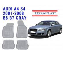 All Weather Rubber Floor Mats Set For AUDI A4 S4 B6 B7 2001-2008 Gray