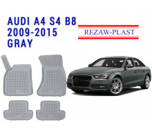 All Weather Rubber Floor Mats Set For AUDI A4 S4 B8 2009-2015 Gray