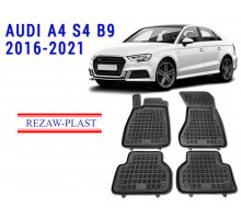 All Weather Rubber Floor Mats Set For AUDI A4 S4 B9 2016-2021 Black
