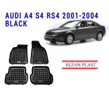 Rezaw-Plast  Rubber Floor Mats Set for Audi A4 S4 RS4 2001-2004 Black