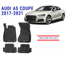 All Weather Rubber Floor Mats Set For AUDI A5 COUPE 2017-2021 Black