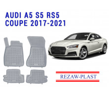 All Weather Rubber Floor Mats Set For AUDI A5 S5 RS5 COUPE 2017-2021 Gray