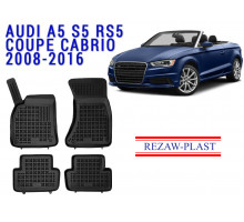 All Weather Rubber Floor Mats Set For AUDI A5 S5 RS5 COUPE CABRIO 2008-2016 Black