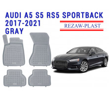 All Weather Rubber Floor Mats Set For AUDI A5 S5 RS5 SPORTBACK 2017-2021 Gray