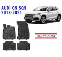 Rezaw-Plast  Rubber Floor Mats Set for Audi Q5 SQ5 2018-2021 Black