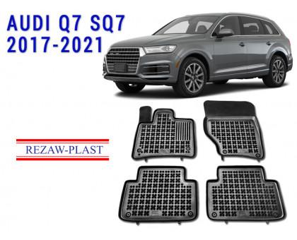 Rezaw-Plast Rubber Floor Mats Set for Audi Q7 SQ7 2017-2021 Black