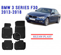 All Weather Rubber Floor Mats Set For BMW 3 SERIES F30 2013-2018 Black